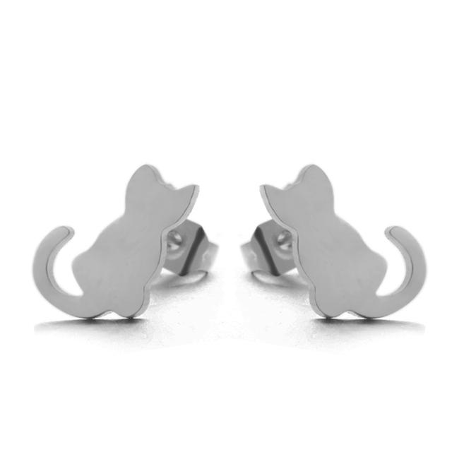 Mini Cat Shaped Stud Earrings