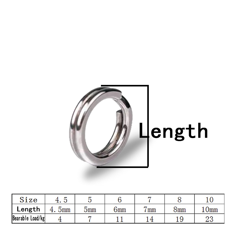 Fishing Split Ring Stainless Steel Snap Lure Tackle Connector Double Loop 100pcs