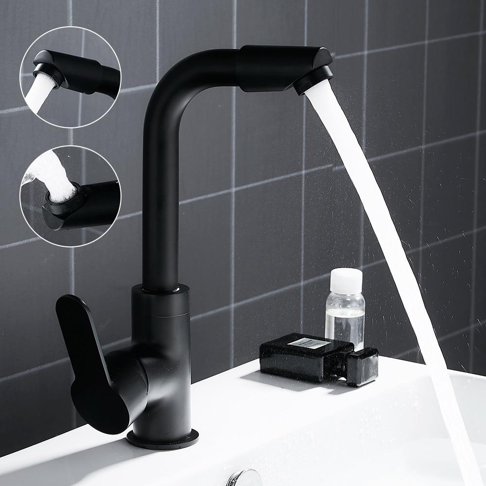цена на 360 Swivel Spout Basin Faucets Sink Taps Kitchen Bathroom Deck Mounted Mixer Taps Single Lever Black