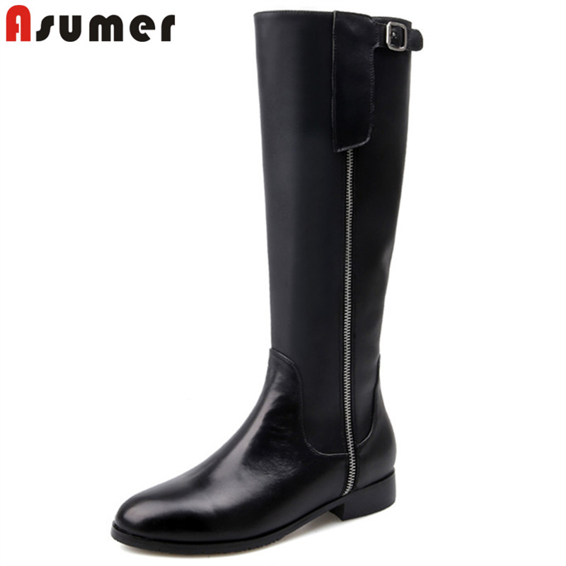 ASUMER 2018 fashion new autumn winter boots round toe zip pu+cow leather boots low heel ladies knee high boots elegant ladies
