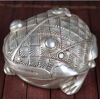 Silver incense burner antique incense burner bronze frog statue toad household decorations