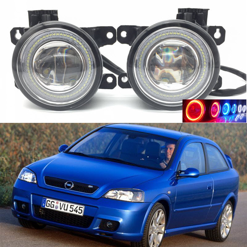 For Vauxhall Opel Astra OPC G H 2002-2010 2in1 LED 3 Colors Angel Eyes DRL Daytime Running Lights Cut-Line Lens Fog Lights Lamp for opel astra h gtc 2005 15 h11 wiring harness sockets wire connector switch 2 fog lights drl front bumper 5d lens led lamp