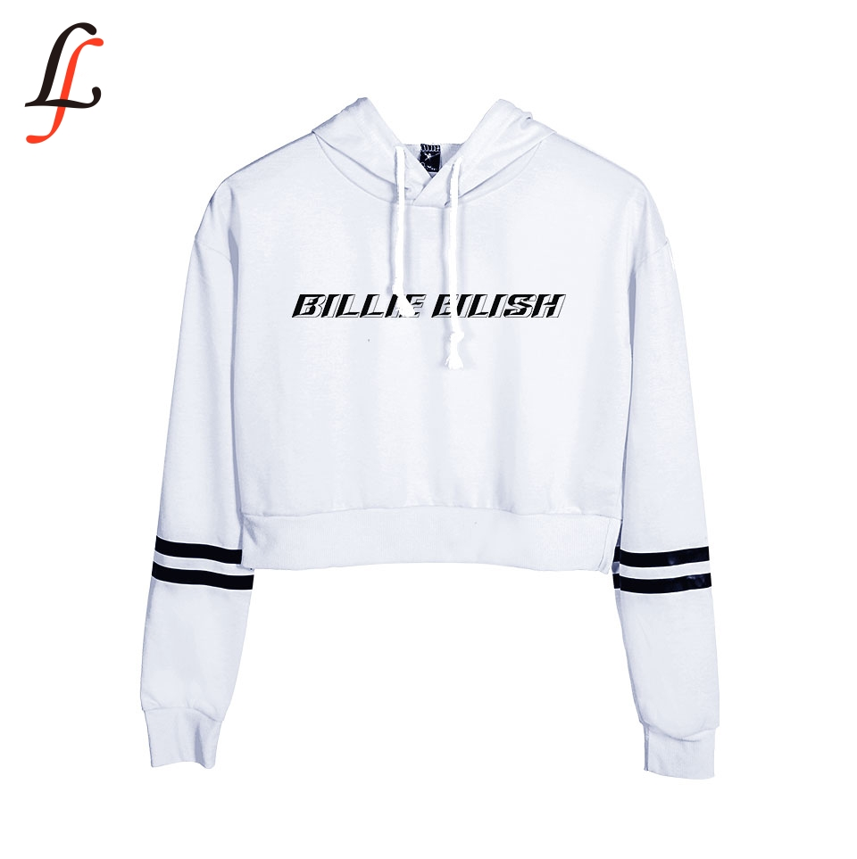 2019 New Billie Eilish Hoodie Waist <font><b>Cap</b></font> <font><b>Sexy</b></font> Fashion Trend Crop Top Women Hoodies Sweatshirt Harajuku <font><b>Sexy</b></font> Hot K pop Clothes image