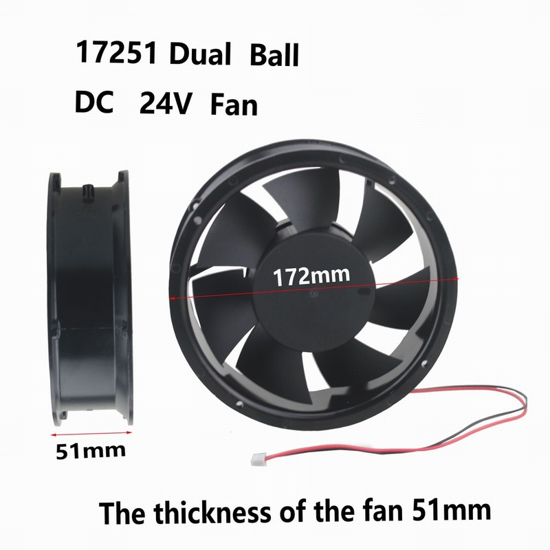 1 pcs Gdstime 172mm x 51mm Ball Bearing 170mm x 50mm Metal DC Cooling Fan 24V 2Pin 17cm Circle Cooler 172x51mm 17251 delta new efb1548vhg 17251 17cm 48v 0 83a circular drive cooling fan for 172 172 51mm