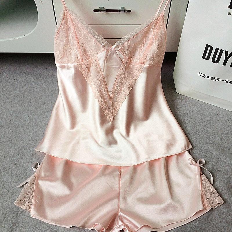 Popular Silk Sleepwear Set Lace Camisole Sets-Buy Cheap Silk ...