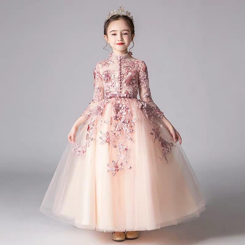 Spring Luxury New Appliques Handmade Flowers Girls Children Wedding Birthday Party Tulle Dress Kid Teens Host