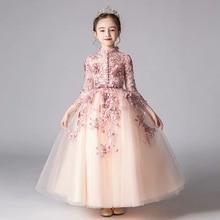 Primavera de luxo novos apliques flores artesanais meninas crianças casamento festa aniversário tule vestido criança adolescentes anfitrião tutu vestido roupas