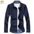 Super gran tamaño de impresión camiseta masculina brand clothing 7xl 6xl algodón de Los Hombres Camisa de Manga Larga Azul Marino Blanco Chemise Homme 2017 nueva