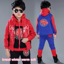 New brand suit boys winter clothing for age 5-13 children boy sweater spider man printing clothing kids boy warm clothes 26157b