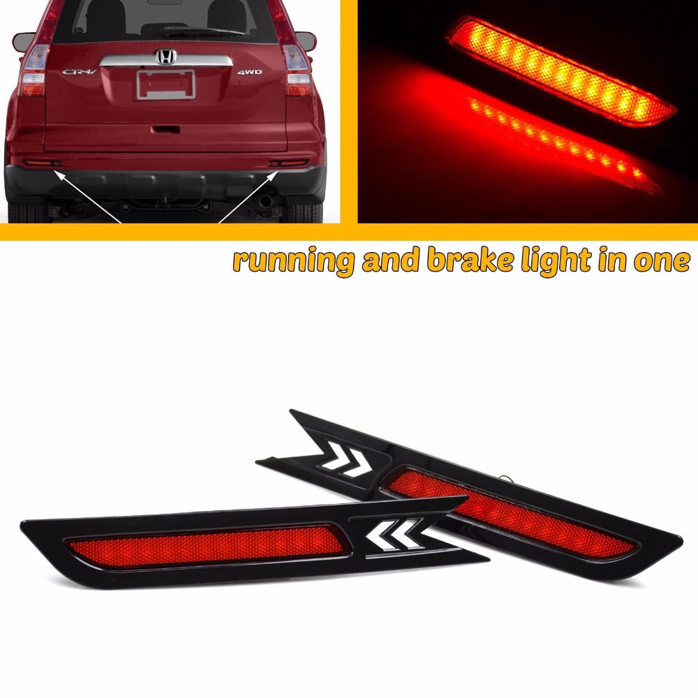 CYAN SOIL BAY 2pcs Car Styling LED SMD Red Len Rear Bumper Reflector LED Stop Brake Light Tail Lamp for Honda CRV 2010 2011 cyan soil bay car led rear bumper reflector red parking warning stop brake light tail fog lamp for honda accord 9th 2014 2016