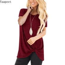 цены на Women T-shirt Solid Color Front Knot Thin Cotton Soft Short Sleeves Summer Top Shirts Casual Women Tunic Top в интернет-магазинах