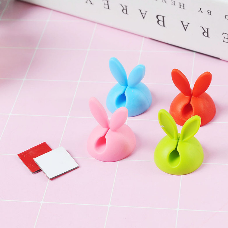 4PCS Rabbit Cable Clip Wire Organizer Wire Clips Holder Organizer USB Charger Holder Fixer in Cable Winder from Consumer Electronics