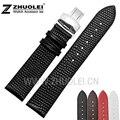 12 14 16 18 20 mm de alta qualidade pulseira de couro com fivela de borboleta Ultra fino frete grátis