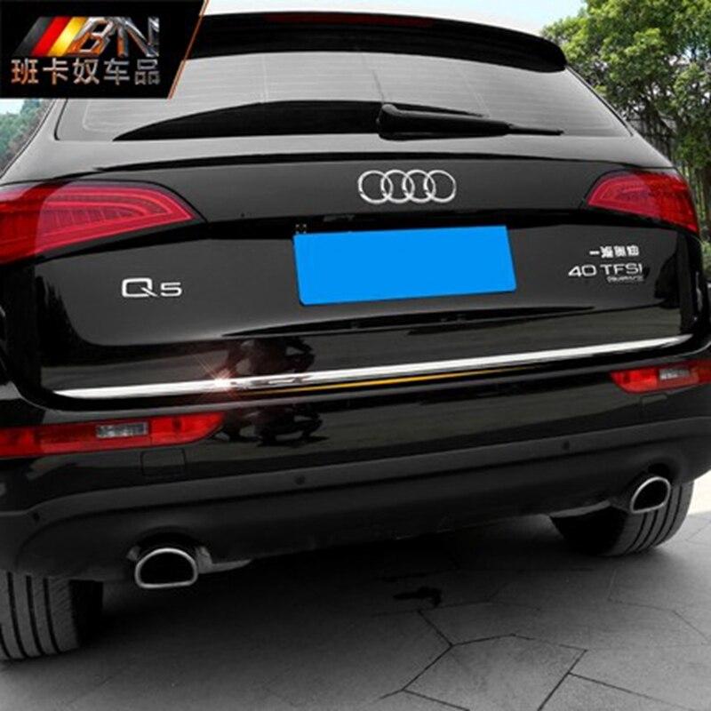 Audi q5 2009 2010 2011 2012 2013 2014 2015 2016 스테인레스 스틸 뒷 트렁크 스티머 테일 트렁크 리드 커버 트림 자동차 액세서리