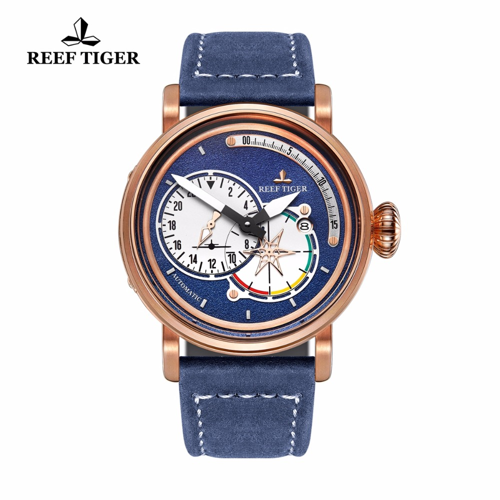 Reef Tiger/RT Men's Pilot Watches with Date Leather Strap Rose Gold Blue Dial Watch Automatic Watches Military Watch RGA3019