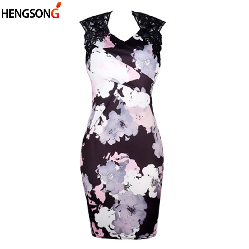 Hengsong 2018 Summer New Chinese Style Women's Clothing Sexy V-Neck Sleeveless Bag Hip Slim Lace Stitching Print Dress 717859