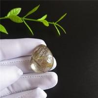 Natural Clear Beautiful Golden Sun Rutile Crystal Quartz Pendant Polished