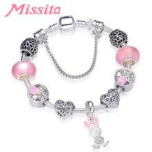 MISSITA Cute Rabbit Pendant Bracelet with Hollow Heart Clover Beads Braceletds for Women Jewelry Brand Anniversary Hot Sale characteristic hot sale cross shape pendant design women s beads bracelet