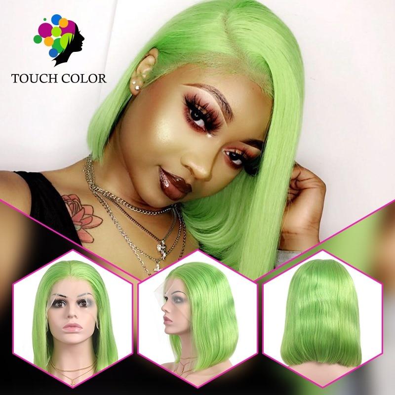 13x4 verde bob perucas da parte dianteira do laço peruano straigt perucas de cabelo humano para as mulheres remy natural cor verde cabelo curto bob peruca
