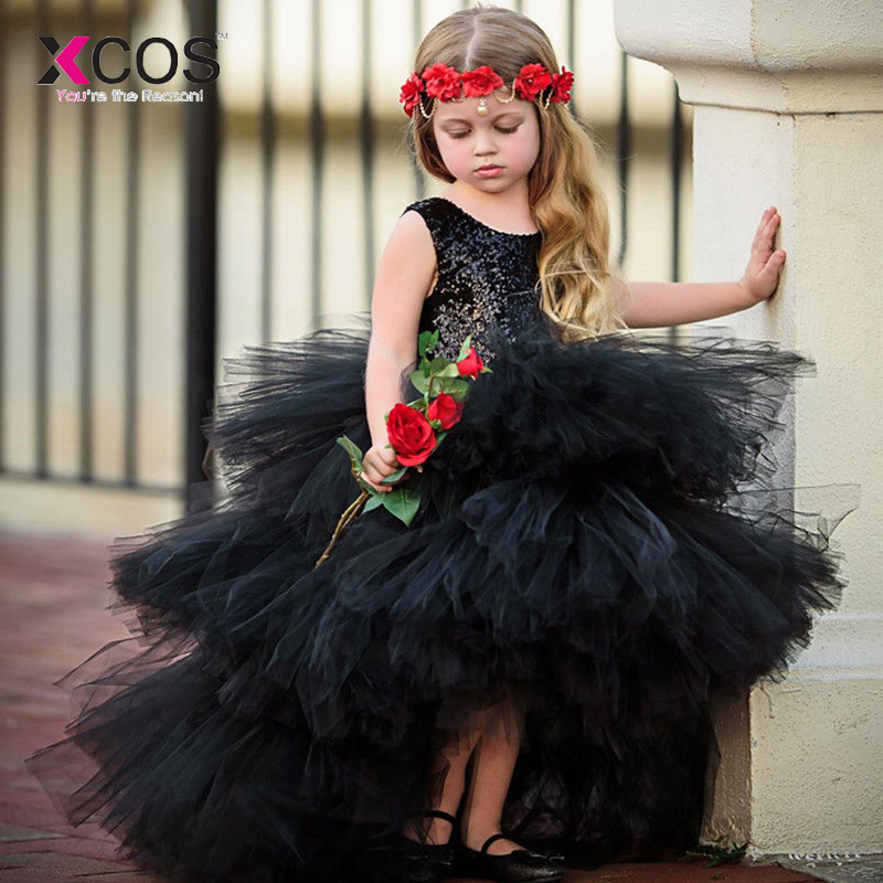 Girls   Pageant   Dresses   2019 Black Sequin Top Tulle Puffy Tiered High Low   Flower     Girl     Dresses   For Weddings Party Custom Made