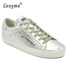 מותג איטלקי מעצב CANGMA כסף נשי עור אמיתי פטנט נעלי נשים נושמות סניקרס מקרית נעלי שרוכים דירות