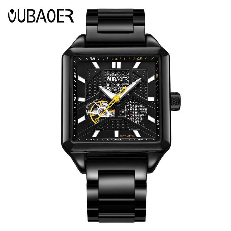 OUBAOER Mechanical Watch montre homme Men Watches Military Army Clock Sport Skeleton Mens Business Wristwatch Luxury Gift