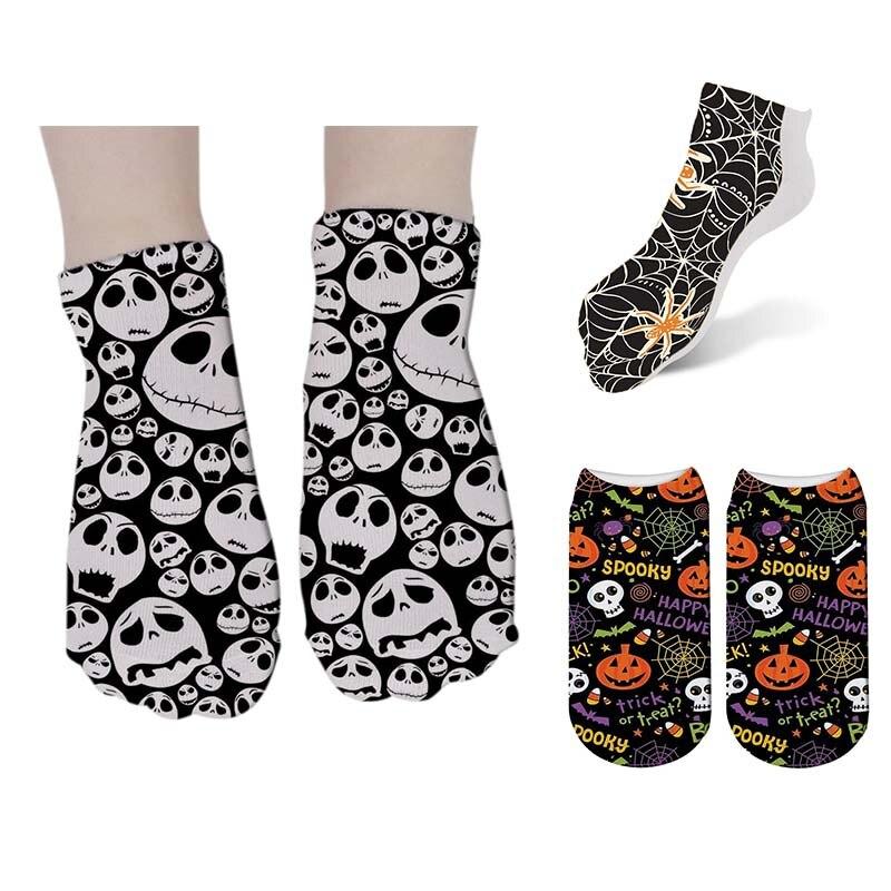 Women's Cotton Printed Skull Short Socks Women Low Ankle Funny Socks Casual Female Harajuku Printing Socks Meias Hot 7S-ZAS08