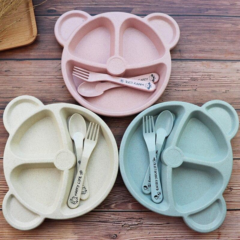 Baby Feeding Food Tableware Set Cartoon Bear Kids Dishes Eating Dinnerware Anti-hot Wheat Straw Training Plate Bowl Spoon Fork