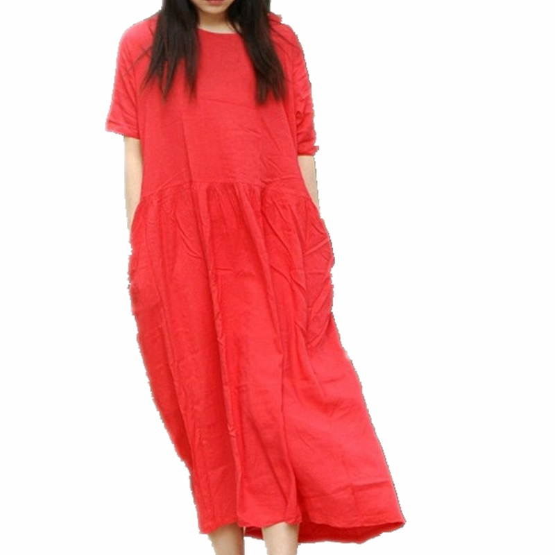 Robe Ete 2016 New Cotton Linen Loose Ladies Summer Dress Red Beige White Short Sleeve Long
