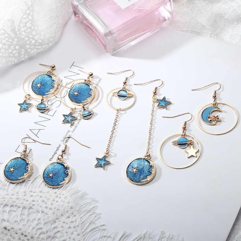 Blue Starry Planet Temperament Earrings Retro Cold Gold Silk Ball Popular  Small Fresh Asymmetry Ladies Earrings 2019 New