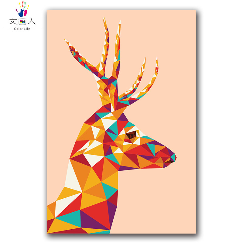 animal deer DIY digital oil painting package by numbers with kits,bedroom of children wall decoration,Christmas gift for
