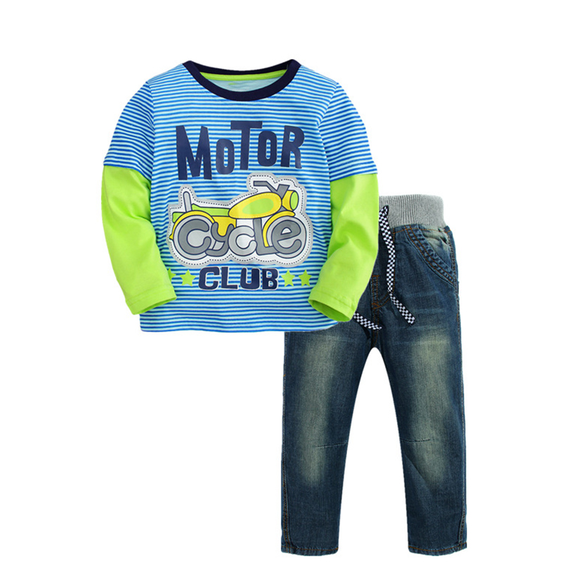 2017 Autumn Kids Clothes Boys Clothing Set Jeans Pants + Striped T-shirt Long-sleeved Children Clothing Boys Clothes Child Set 2016 new children s clothing boys long sleeved t shirt large child bottoming shirt spring striped shirt tide