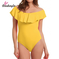 Dasbayla 2017 Women Sexy Summer Jumpsuit Short Sleeve Bodycon Spandex Beach Playsuit Ruffles Off Shoulder Bodysuit