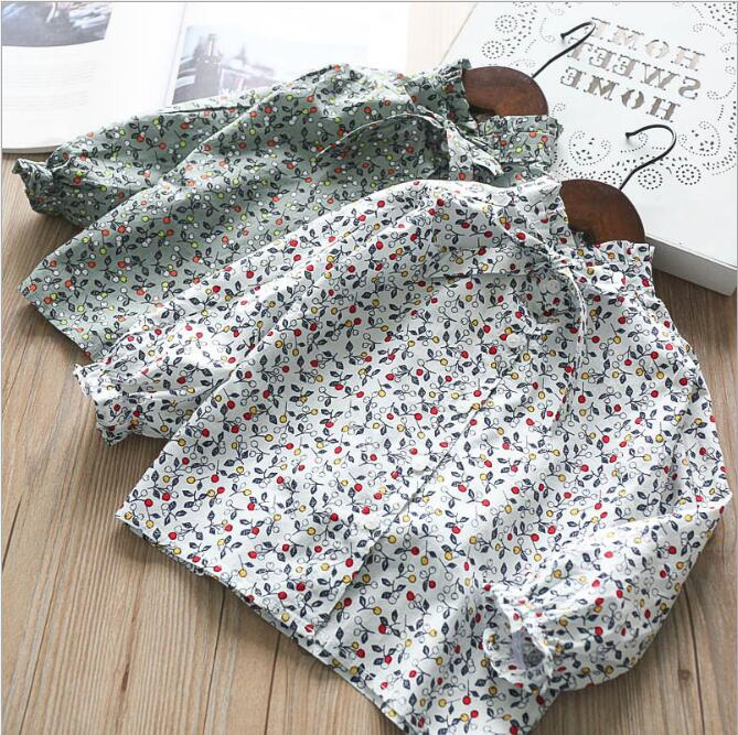 Autumn Baby Girl Clothes Vintage Floral Shirts Girls Princess Bow Blouse 2018 Children Jumper tops Kids Clothing