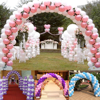 About 4M(W)* 2.2M(H) Balloon Column Arch Upright Base Pole Stand Display Set Column Frame Arch Column Kit Birthday Wedding Party