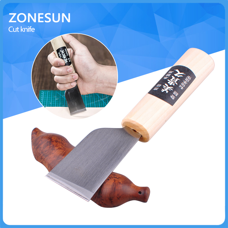 One 1pc DIY Stainless Steel Leather Cutting Knife Leather Craft Tool with Wooden Cutter Tool Hot Sale strengthen pe wooden handle leather cutting hammer craft stamping tool set th131