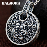 BALMORA 990 Pure Silver Vintage Flower Hollow Pendants For Women Mother Gift Silver Jewelry Accessories Without
