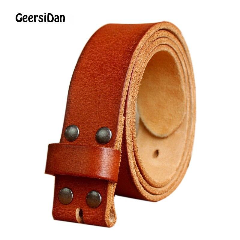 GEERSIDAN hombres anchura 38mm 100% grano completo de cuero genuino cinturones para hombres marca de moda Correa Vintage Jeans cinturones sin hebilla