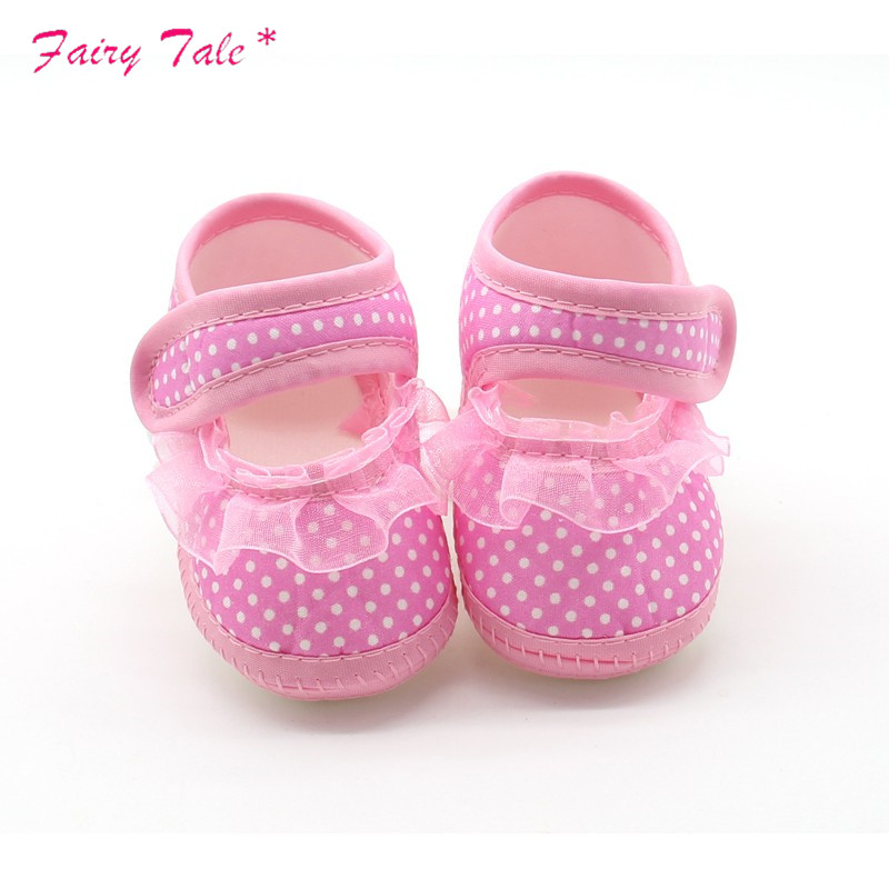 afdf6431a9e9b Baby Infant Shoes Girls Dot Lace Soft Sole Prewalker Warm Casual Flats Shoes  Newborn Toddler First