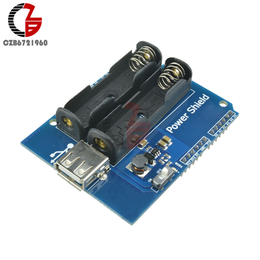 Power Supply Expansion Shield Board Battery Module with USB Interface for Arduino AAA*2 Battery GM DC 5V 350mA catalex arduino expansion board clock shield two wire digital module blue black