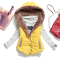 New 2014 autumn and winter plus size slim plus velvet vest thermal down cotton with a hood vest female all-match