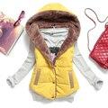 Nuevo 2014 otoño e invierno más tamaño delgado , además de terciopelo termal abajo cubre de algodón con una capucha chaleco femenino del todo fósforo