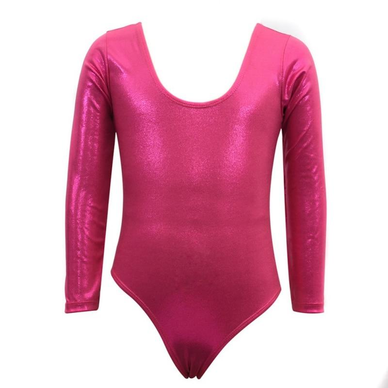 Toddler Girls Long Sleeves Athletic Dance Leotards Dress Radium Color Ballet Gymnastics for Kids Dance Wear Costume Bodysuit