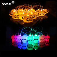 SXZM 5M 20 Leds Halloween Led String Light Pumpkin Or Skull AC110V 220V Indoor Outdoor Decoration