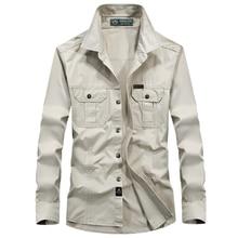 Men's Combat Shirt U.S Military Shirt AFS JEEP Breathable Brand Long Sleeve Shirt Autumn Casual Army Dress Shirt Camisas M-6XL