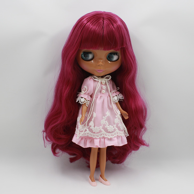 Free shipping Black Blyth nude doll factory purple bangs long hair factory blyth doll gifts for girls dolls for sale