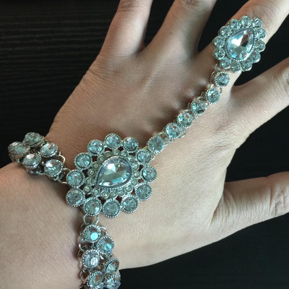 DIAMANTE KUNDAN STONES HAND CHAIN PANJA RING BRACELET HAND JEWELLERY HAND PIECE
