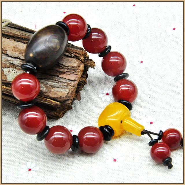 Yumten 16MM Natural Red Agate Bracelet Dzi Beads Yellow Crystal Bracelet Anniversary Bracelets For Couples Unisex Bracelets Ball