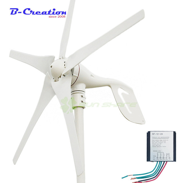 купить 3/5 Blades 400W 12v 24V Wind Turbine Generator With Waterproof Charge Controller Wind Generator Kits по цене 8541.17 рублей