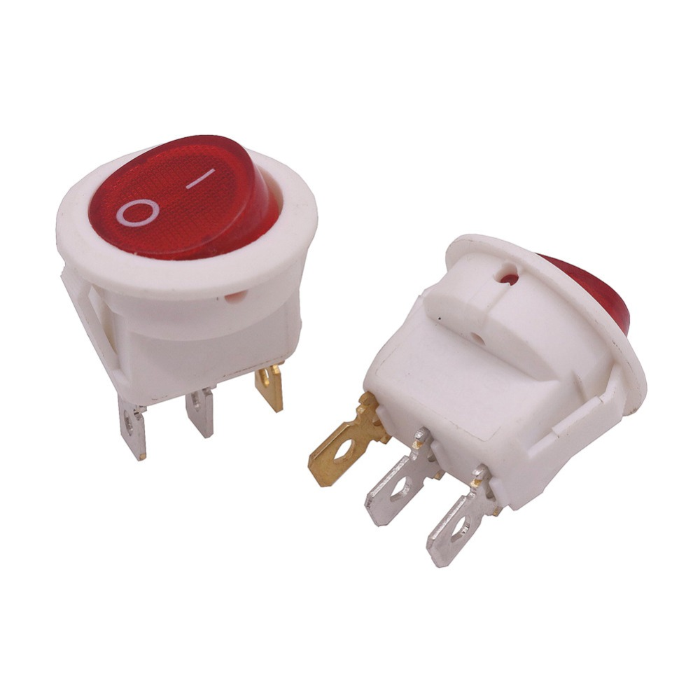 Wholesale 20 Pcs 3 Pin 10A 125V 6A 250V AC Switch 23*23*25mm Round White Rocker Switch 3 Plugs Switch Electrical Accessories